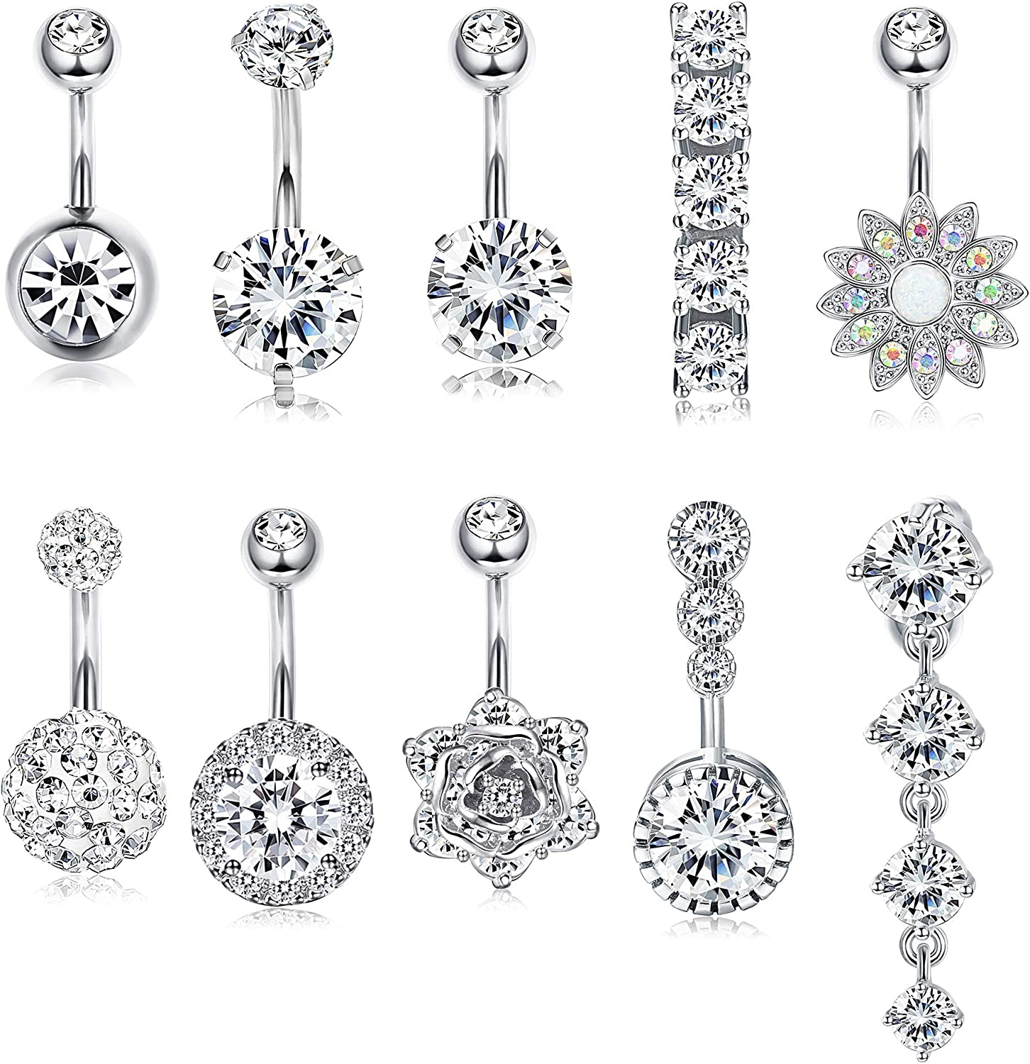 FUNRUN JEWELRY 10PCS 14G 316L Surgical Steel Belly Button Ring Navel Piercing Barbell CZ Inlay Body Piercing Jewelry
