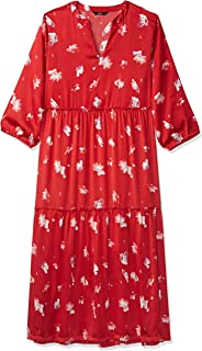 ONLY women's Giza Maxi Floral Dress in Flame Scarlet, Size: 38 EU (Manufacturer Size:Medium)