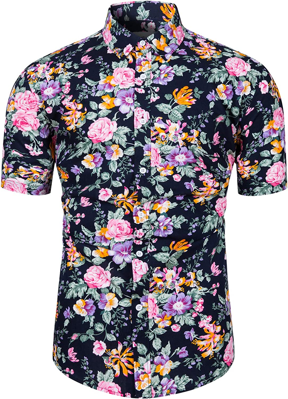 fohemr Camisa de Manga Corta con Botones para Hombre, diseño de Flores Estampado Camisas Hawaianas Hombre Algodon