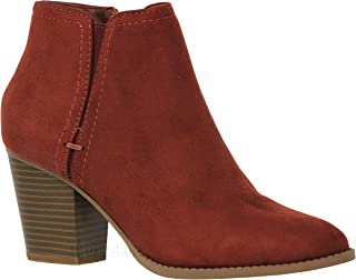 MVE Shoes Women's Chunky Heel Strappy Almond Toe Ankle Boots