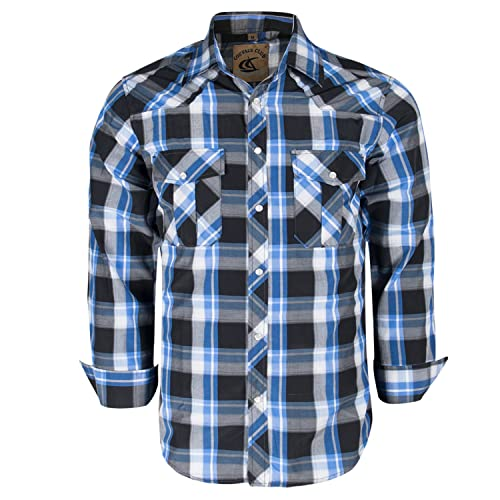 42a3580261b Coevals Club Men s Snap Button Down Plaid Long Sleeve Work Casual Shirt
