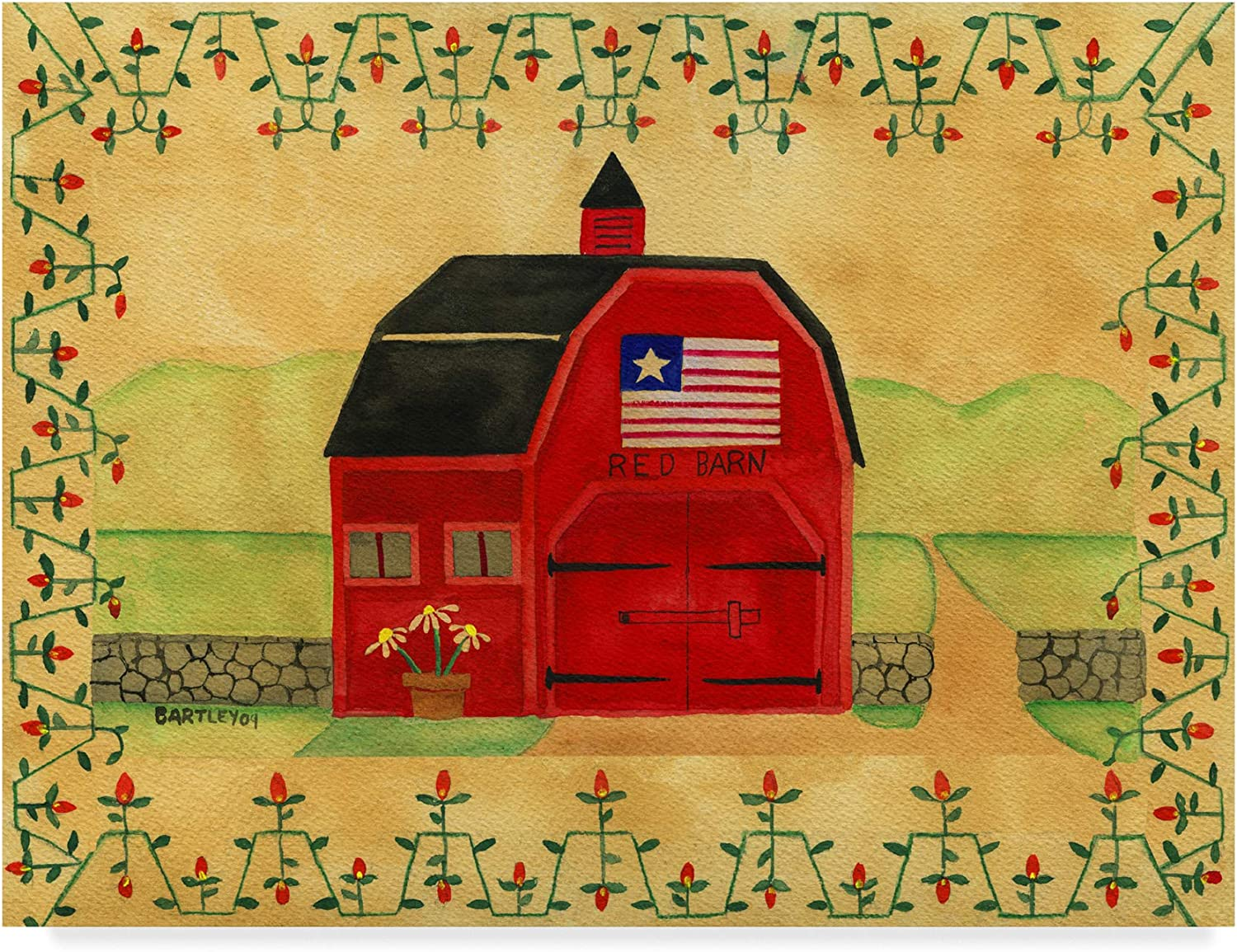 Trademark Fine Art Primitive American Red Barn by Cheryl Bartley, 14x19 Fine Art, Multicolor