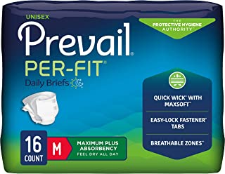 Prevail Per-Fit Incontinence Briefs, Maximum Plus Absorbency, Medium, 16 Count Trial Pack