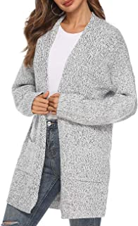 Women's Casual Sweater Cardigan Open Front Long Sleeve Cable Knit Sweater Pockets