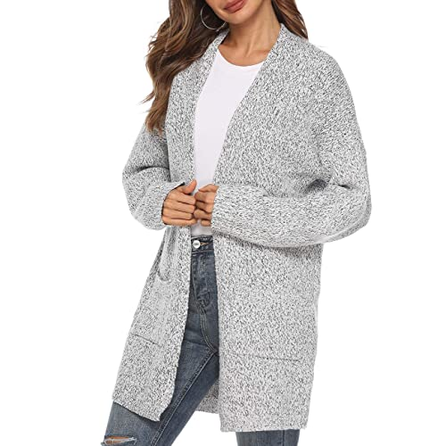 67138ff0461 Women s Casual Sweater Cardigan Open Front Long Sleeve Cable Knit Sweater  Pockets Grey