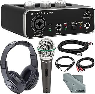 Behringer U-PHORIA UM2 2x2 USB Audio Interface and Deluxe Bundle w/Samson Q6 Mic + Headphones + Xpix 1/4