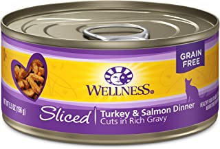 Wellness Natural Grain Free Wet Canned Cat Food Sliced Turkey & Salmon