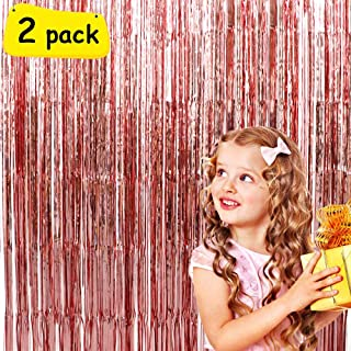 Iridescent Glitter Foil Fringe Curtains Birthday Wedding Party Window Door Decorations Fun Photo Booth Props(2 packs, 39 * 78 inch,Rose Gold)