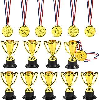 FEPITO Trofee medailles set van 10 stuks goudkleurige kunststof trophy cup en 20 stuks winnaar medaillles voor Kid Party S...