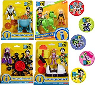 Imaginext 4X Go Super Hero Teen Titans Playset Party Magic Attack Raven / Meat Cyborg / Pizza Starfire / Beast Boy & Terra Adventure Cartoon Character Toy Figure Pack 4 Items Bundle & Bonus Stickers