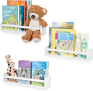 Nursery Décor Wall Shelves – 3 Shelf Set – Floating Bookshelves for Baby & Kids Room, Book Organizer Storage Ledge, Display Holder for Toys, CDs, Spice Rack – Ships Assembled (White)