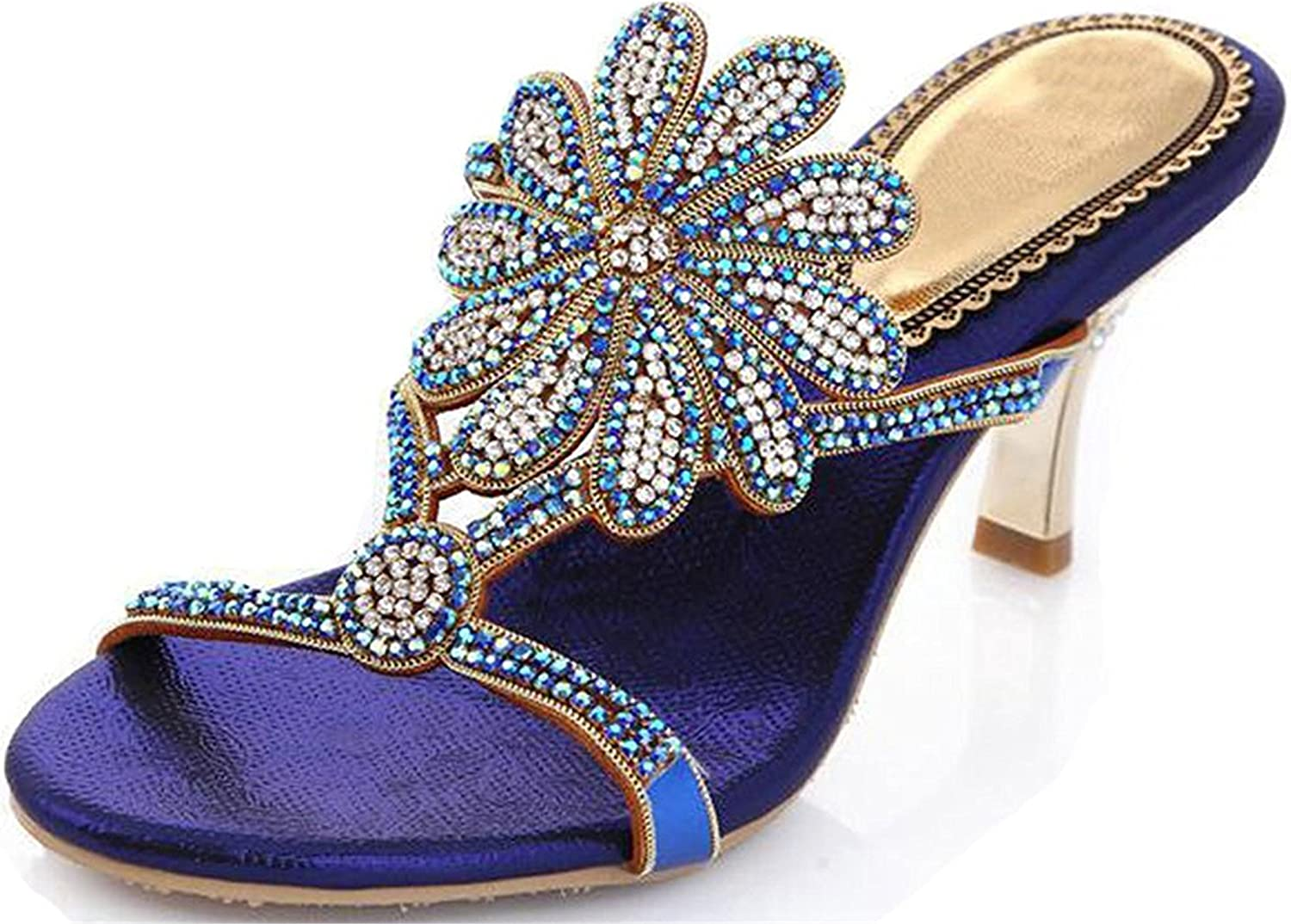 Garyline Stunning Sun Flowers Heeled Sandal Peep Toe Slid Evening Sandal Dress Pump