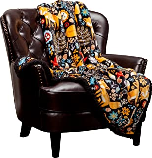 Chanasya Gold Fox Lush Nature Vibrant Color Print Gift Throw Blanket - Super Soft Cozy Snuggly Luxurious Chick Plush Sherpa for Birthday Kids Bed Couch Sofa Chair Office (50 x 65 Inches) - Black