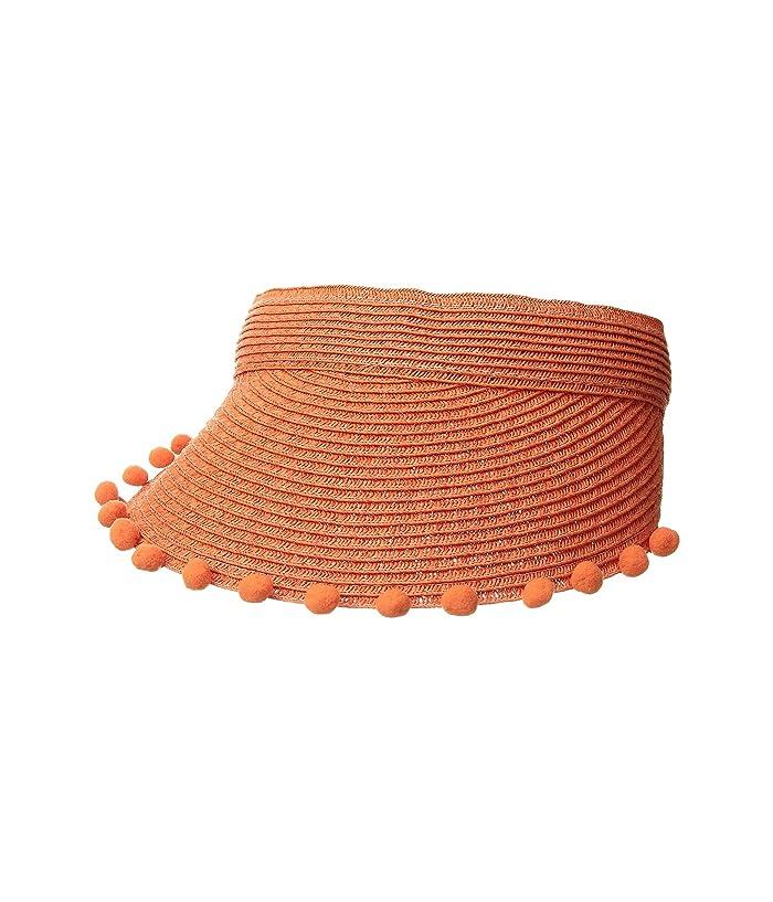 Hippie Hats,  70s Hats San Diego Hat Company UBV045 Visor with Matching Color Pom and Adjustable Back Orange Casual Visor $21.04 AT vintagedancer.com