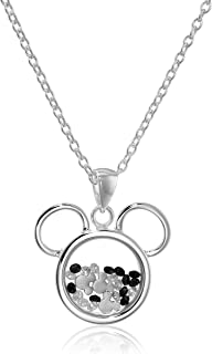Silver Plated Mickey Mouse Silhouette Shaker Pendant Necklace