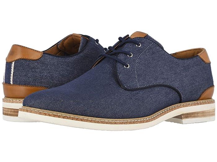Florsheim  Highland Canvas Plain Toe Oxford (Navy Canvas/White Sole) Mens Shoes