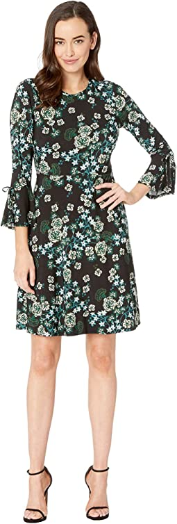 Printed Ity Etched Floral Fit & Flare Dress w/ Bell Sleeve & Tie Detail Sleeve