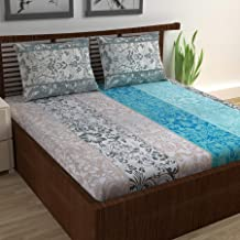 Divine Casa - Floral 144 Tc 100% Cotton Light Weight Double Bedsheet with 2 Pillow Covers, Grey