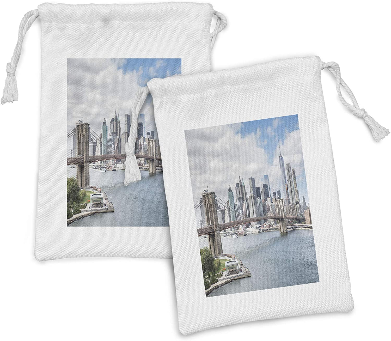 Lunarable Cityscape Fabric Pouch Set Boston Mall of American New York List price 2 USA