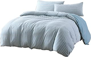 Levi 3-Piece Striped Heather Jersey Knit Cotton Duvet Cover Set - Solid Reversible Ultra Soft and Breathable - Comforter Cover with Button Closure and 2 Pillowcases (Full, Nile Blue/Gray)