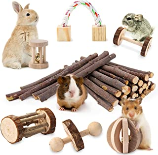 JanYoo Guinea Pig Toys Chinchilla Hamster Roller Rat Chews Toys Bunny Rabbits Exercise Wheels Molar Wooden for Teeth(Pack ...