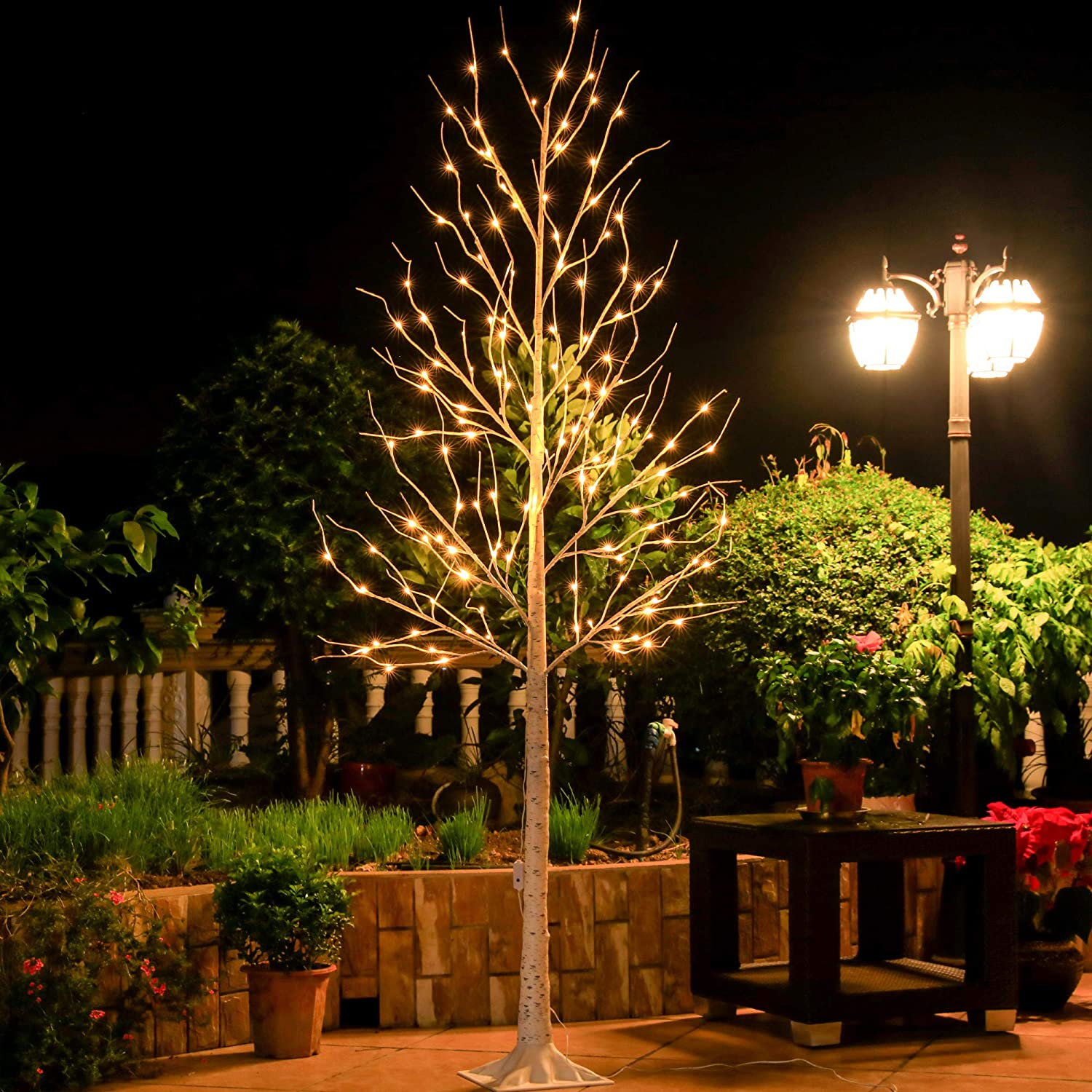 Leruckdite LED Birch Tree 8ft Lig Store National products 136L Christmas Decorations