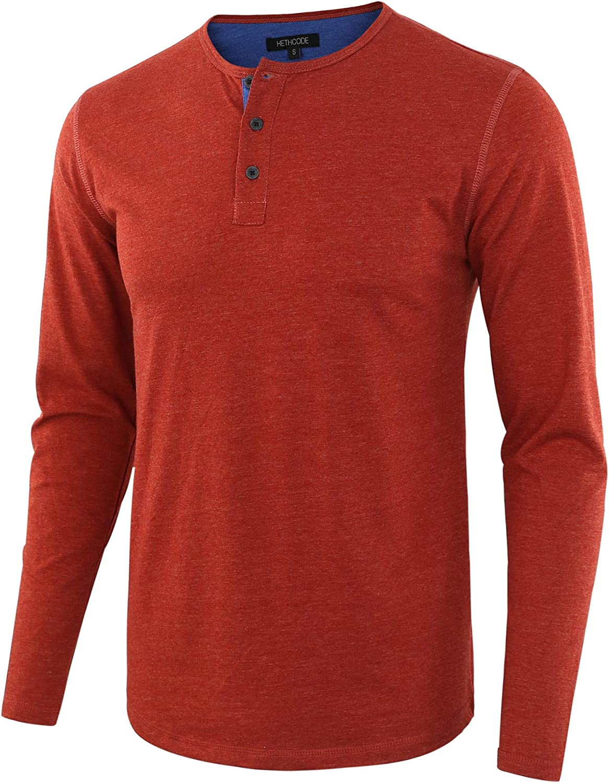 HETHCODE Men's Classic Comfort Soft Regular Fit Long Sleeve Henley T-Shirt Tee
