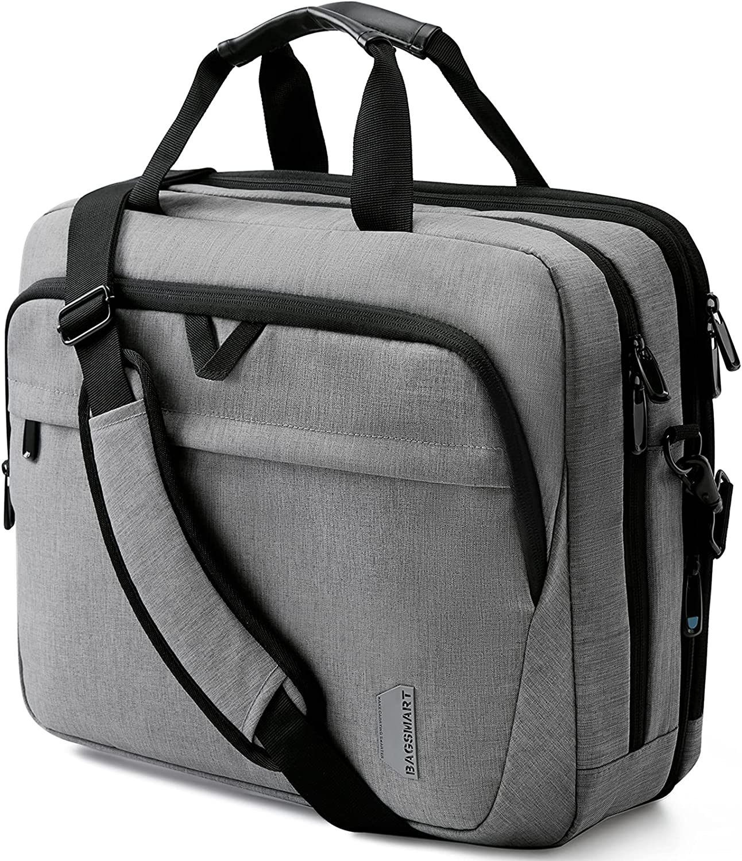 17.3 Inch Laptop Bag,BAGSMART Large Expandable Briefcase Business Travel Bag Computer Office Bag Shoulder Bag for Men Women Water Resistant Anti Theft Durable,Grey
