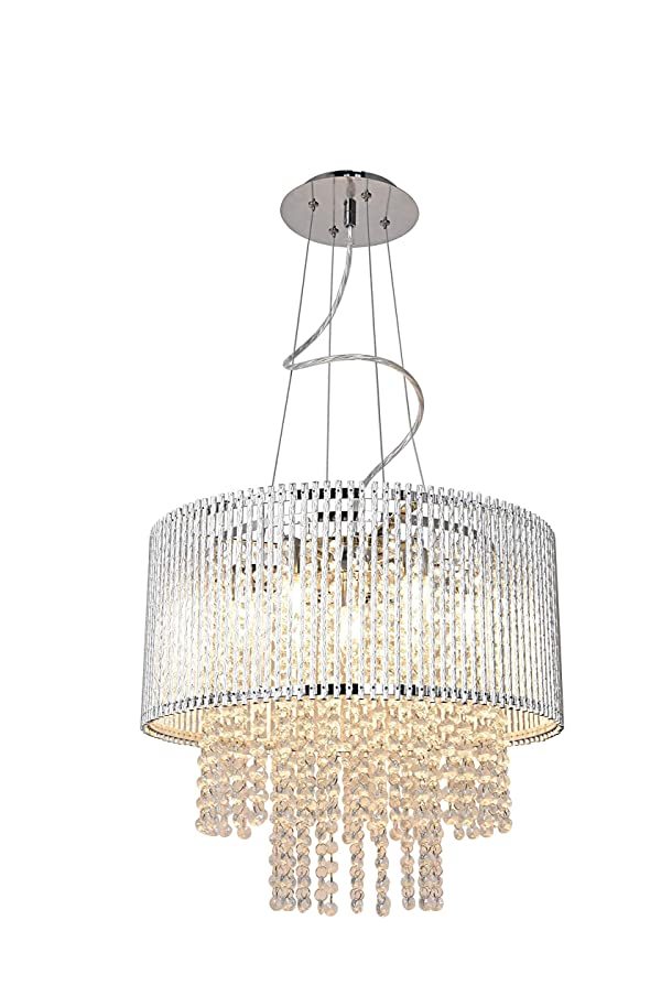 New! Decor Living Seven Light Adjustable Deluxe Crystal Chandelier, Genuine K9 Crystals, Chrome