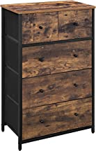 SONGMICS Rustic Drawer Dresser, Storage Dresser Tower with 5 Fabric Drawers, Wooden Front and Top, Industrial Style Dresser Unit, for Living Room, Hallway, Nursery, Rustic Brown and Black ULGS45H