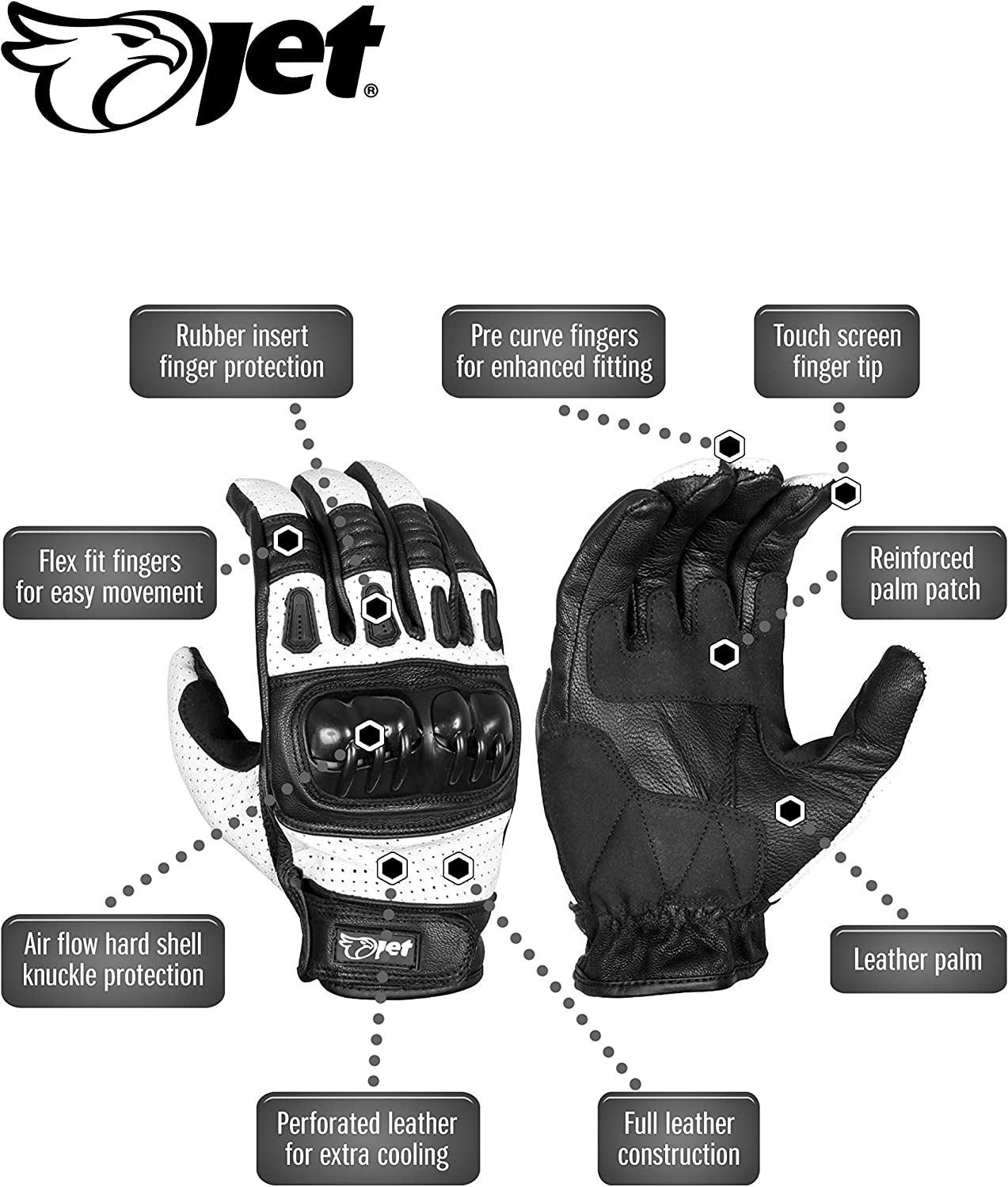 JET Motorcycle Motorbike Gloves Leather Vented Hard Knuckle Touch Screen Gloves Men ATV Riding KOBI L, White
