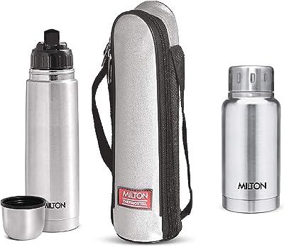 Milton Thermosteel Flip Lid Flask, 500 millilitres, Silver & Elfin Vacuum Flask, 160 ml, Steel Combo