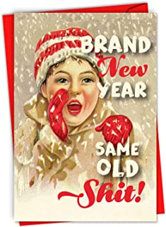 Brand New Year - Funny Grumpy Merry Christmas Card with Envelope (4.63 x 6.75 Inch) - Adult Humor Holidays Card for New Years, Xmas - Season's Greetings Note Card C6732XSG