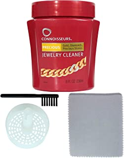 Connoisseurs Jewelry Cleaner Silver, Diamond, Platinum & Precious Stones Bonus Ultra Soft Polishing Cloth, Basket Brush