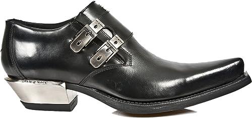 New Rock M.7934-S1 Metallische Schwarz Lederschnalle Westlicher Stahl Ferse Schuhe Stiefel