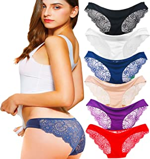 Kingfung 3-6 Pack Women's Invisible Seamless Bikini Underwear Half Back Coverage Panties