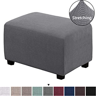 H.VERSAILTEX Ottoman Slipcovers Rectangle Gray Footrest Sofa Slipcovers Footstool Protector Covers Stretch Fabric Storage Ottoman Covers, High Spandex Lycra Slipcover Machine Washable, Large Size