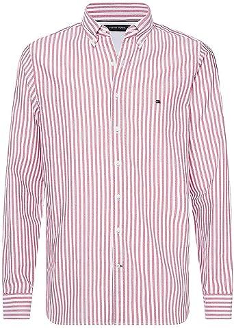 Tommy Hilfiger Hombres Camisa a Rayas Texturizada de Ajuste Delgado Rojo