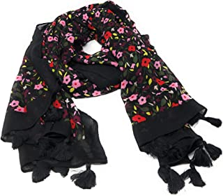 Kate Spade Boho Floral Oblong Scarf with Tassels Black
