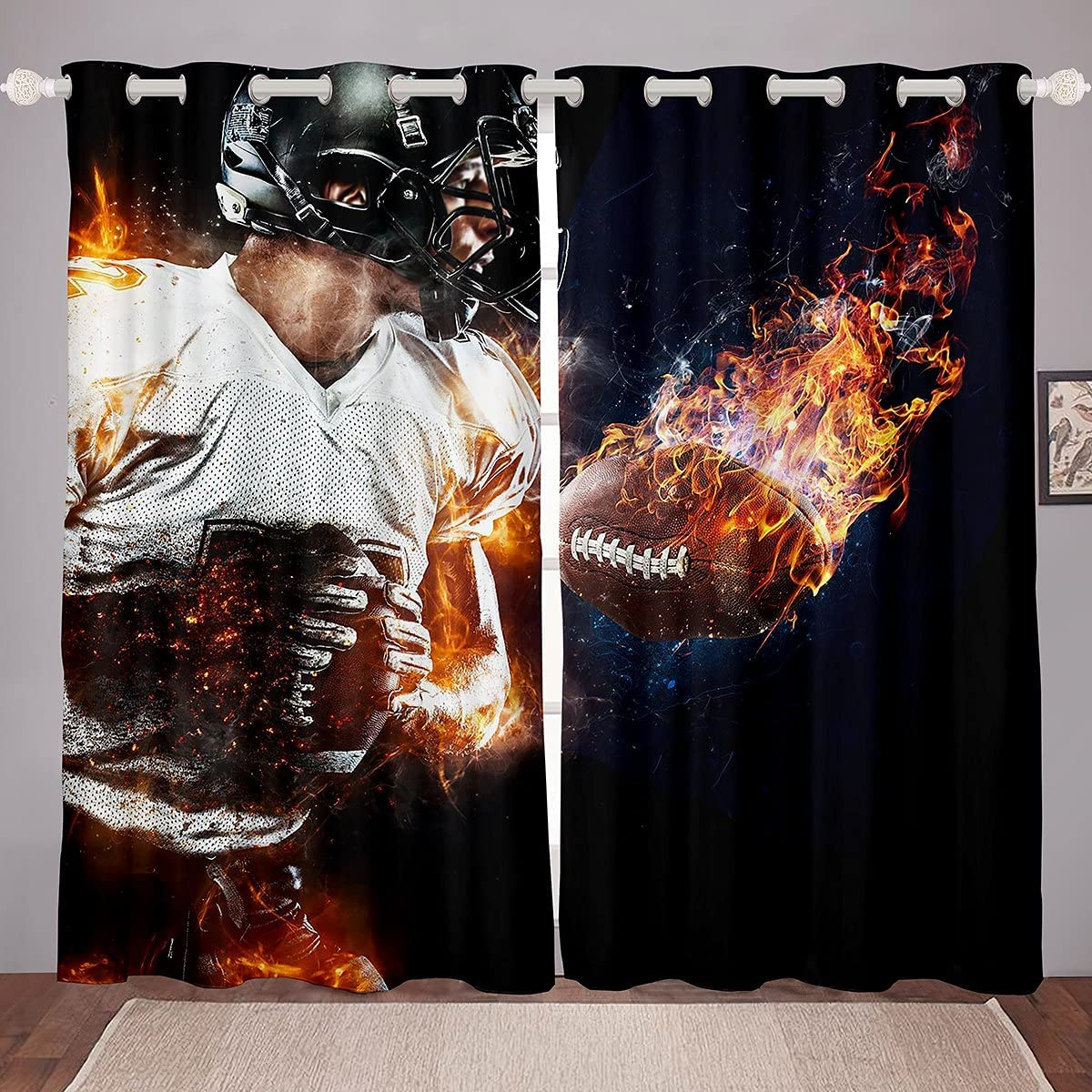 NEW before selling ☆ Castle Fairy Football Window Curtains 3D S Rugby Player Translated