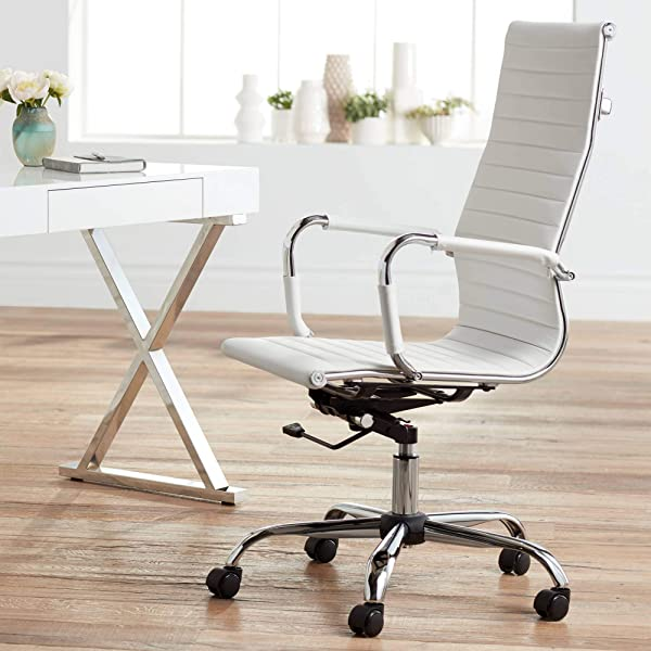 Studio 55D Serge White High Back Swivel Office Chair