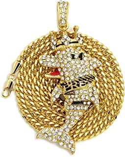 BLINGFACTORY ICED Young Dolph PRE Dolphin Pendant & 4mm 24