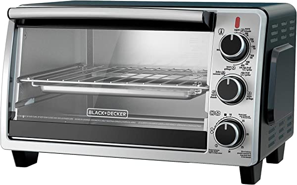 BLACK DECKER TO1950SBD 6 Slice Convection Countertop Toaster Oven Includes Bake Pan Broil Rack Toasting Rack Stainless Steel Black Convection Toaster Oven