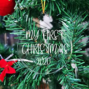 JINMURY 25 Pcs 3 Inch Clear Acrylic Christmas Ornaments 2020- DIY Blank Round Acrylic Glass Ornament with Hole, Perfect for Making Christmas Tree Decoration, Gifts, Name Tags, DIY Projects