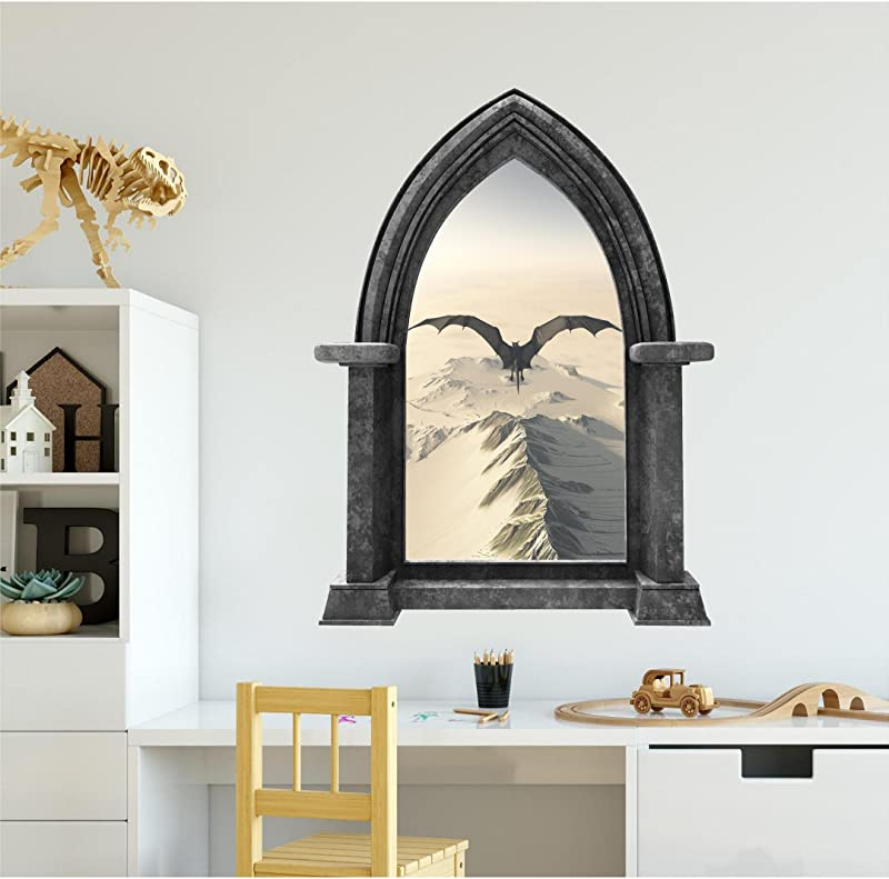 48 Castle Scape Instant Fantasy Window View BLACK DRAGON 2 GRANITE HUGE Wall Decal Sticker Mural Fairy Tale Kids Boys Bedroom Decor Game Of Thrones