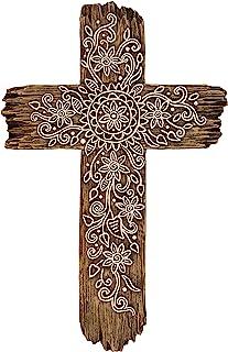 Ornate Flower Wall Cross - Rustic Driftwood Look Decorative Spiritual Art Sculpture