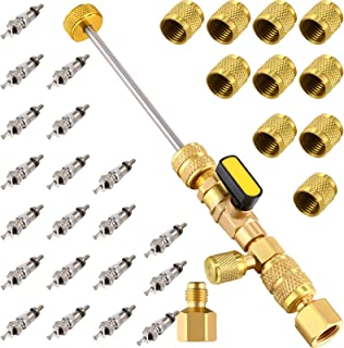 Mudder R22 R134A R12 A/C Valve Core Remover with Dual Size SAE 1/4 & 5/16 Port, R410 R32 Brass Adapter, 20 Pieces Valve Co...