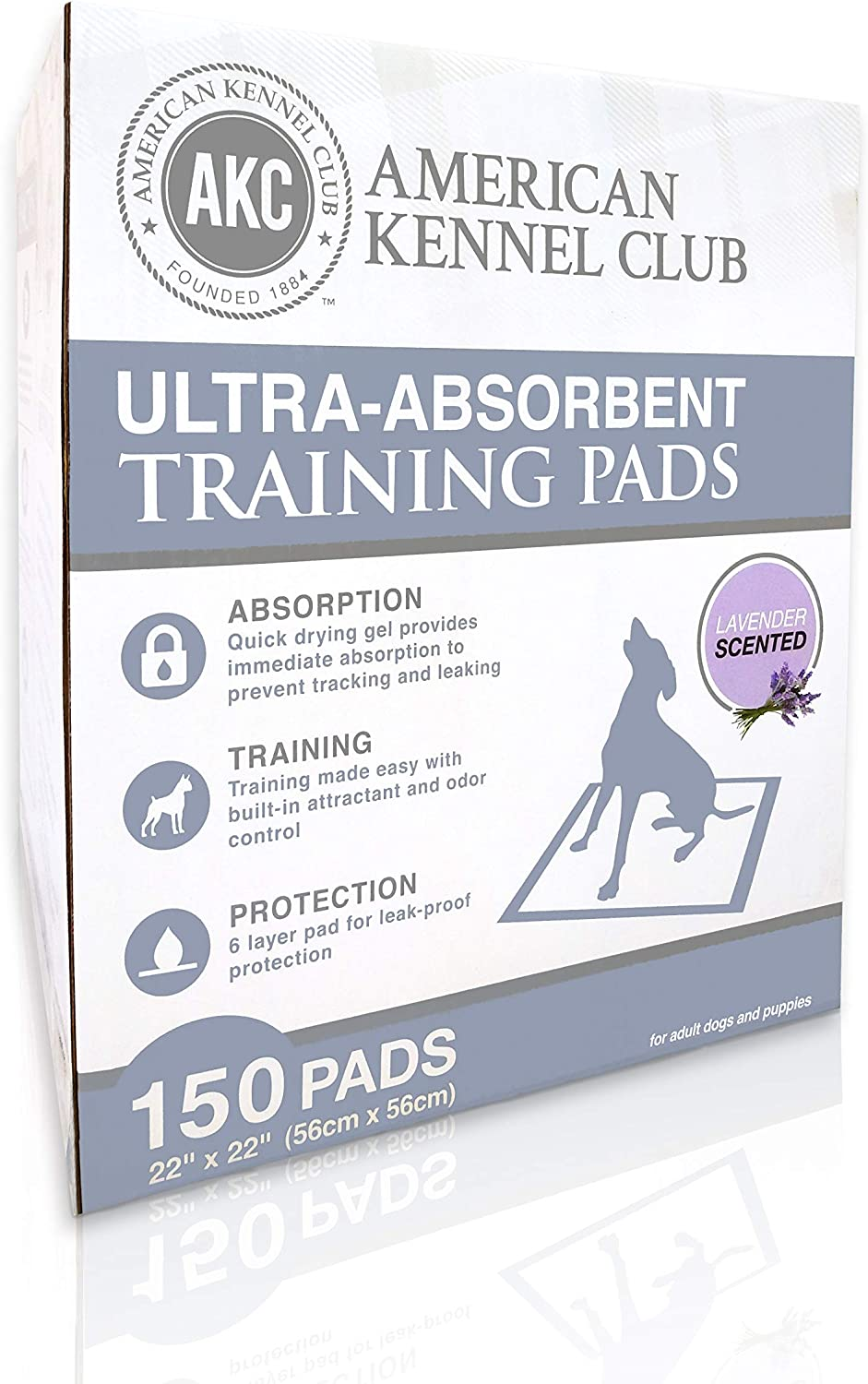 American Kennel Club Lavender Scented Training Pads In Box (150 Pack)