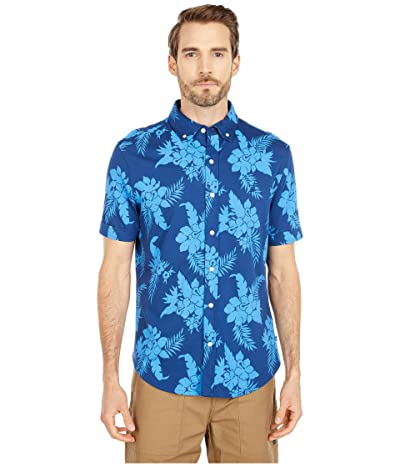 Nautica Button Print Front Jersey Polo (Blue) Men