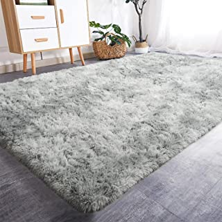 Fluffy Area Rugs Gray 30x30cm CUICI Soft Shaggy Bedside Carpets Kids Play Mat Nursery Rug Floor Mat Washable Thick Pile Rug Home Decor 12x12inch